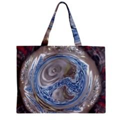 Silver Gray Blue Geometric Art Circle Medium Zipper Tote Bag