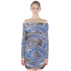 Silver Gray Blue Geometric Art Circle Long Sleeve Off Shoulder Dress
