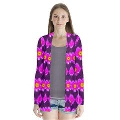 Pink Flower Pattern On Wine Red Cardigans