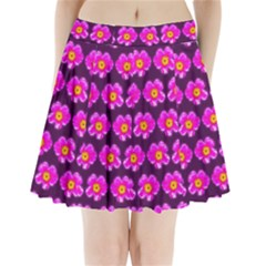 Pink Flower Pattern On Wine Red Pleated Mini Skirt