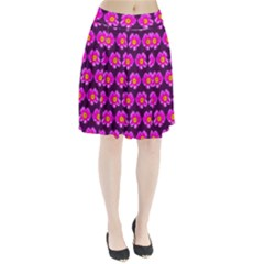Pink Flower Pattern On Wine Red Pleated Skirt