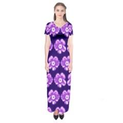 Purple Flower Pattern On Blue Short Sleeve Maxi Dress