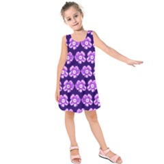 Purple Flower Pattern On Blue Kids  Sleeveless Dress