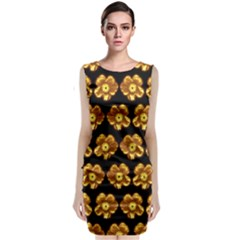 Yellow Brown Flower Pattern On Brown Classic Sleeveless Midi Dress