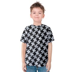 Houndstooth2 Black Marble & Gray Marble Kids  Cotton Tee