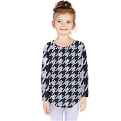 Houndstooth1 Black Marble & Gray Marble Kids  Long Sleeve Tee