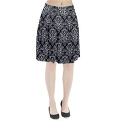 Damask1 Black Marble & Gray Marble Pleated Skirt