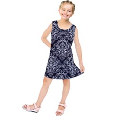 Damask1 Black Marble & Gray Marble Kids  Tunic Dress
