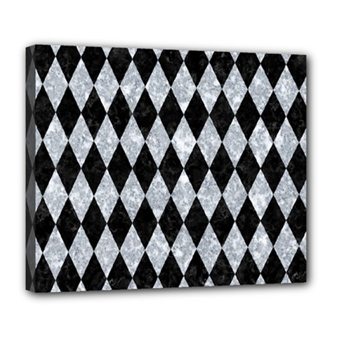 Diamond1 Black Marble & Gray Marble Deluxe Canvas 24  X 20  (stretched)