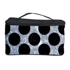 Circles2 Black Marble & Gray Marble (r) Cosmetic Storage Case