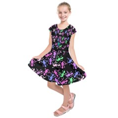 Purple lizards pattern Kids  Short Sleeve Dress