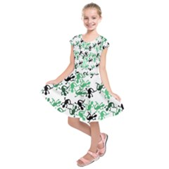 Lizards pattern - green Kids  Short Sleeve Dress