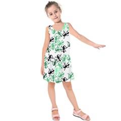 Lizards pattern - green Kids  Sleeveless Dress