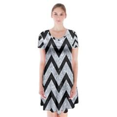 CHV9 BK-GY MARBLE (R) Short Sleeve V-neck Flare Dress