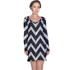 Chevron9 Black Marble & Gray Marble Long Sleeve Nightdress