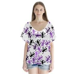 Lizards pattern - purple Flutter Sleeve Top