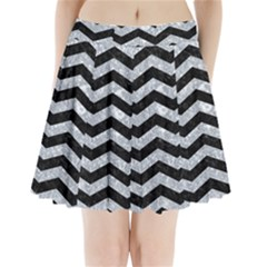 CHV3 BK-GY MARBLE Pleated Mini Skirt