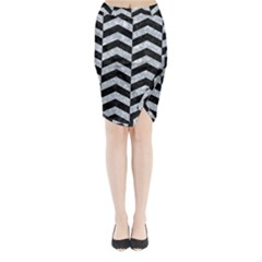 Chevron2 Black Marble & Gray Marble Midi Wrap Pencil Skirt