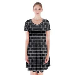 BRK1 BK-GY MARBLE Short Sleeve V-neck Flare Dress