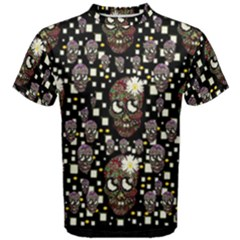 Floral Skulls With Sugar On Men s Cotton Tee