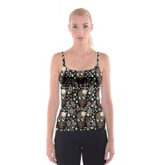 Floral Skulls With Sugar On Spaghetti Strap Top