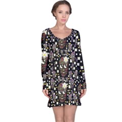 Floral Skulls With Sugar On Long Sleeve Nightdress
