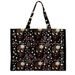 Floral Skulls With Sugar On Zipper Mini Tote Bag