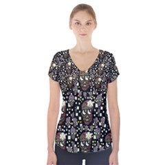 Floral Skulls With Sugar On Short Sleeve Front Detail Top