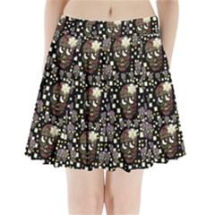 Floral Skulls With Sugar On Pleated Mini Skirt