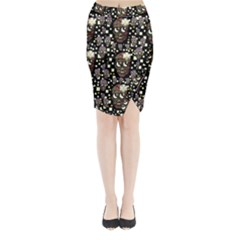 Floral Skulls With Sugar On Midi Wrap Pencil Skirt