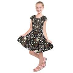 Floral Skulls With Sugar On Kids  Short Sleeve Dress