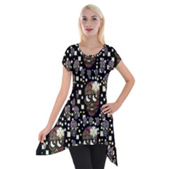 Floral Skulls With Sugar On Short Sleeve Side Drop Tunic