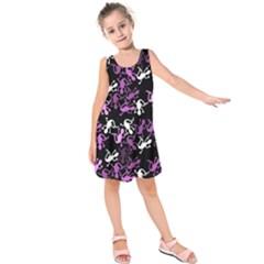 Magenta Lizards Pattern Kids  Sleeveless Dress