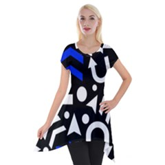 Right Direction   Blue  Short Sleeve Side Drop Tunic
