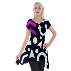 Right Direction   Magenta Short Sleeve Side Drop Tunic
