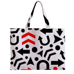 Red right direction Medium Zipper Tote Bag