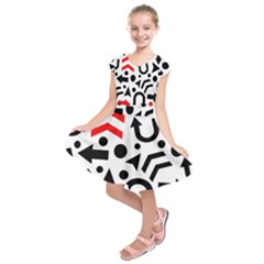 Red Right Direction Kids  Short Sleeve Dress