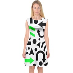 Green right direction  Capsleeve Midi Dress