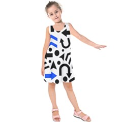 Blue Right Direction Kids  Sleeveless Dress
