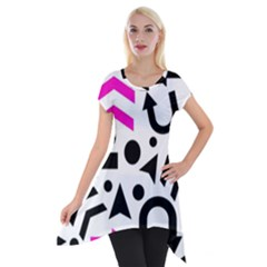 Magenta Right Direction Short Sleeve Side Drop Tunic