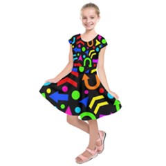 Right direction - Colorful Kids  Short Sleeve Dress