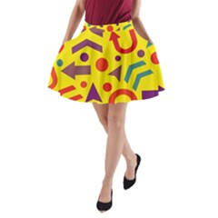 Yellow Direction A Line Pocket Skirt