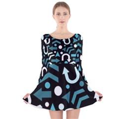 Cyan direction  Long Sleeve Velvet Skater Dress