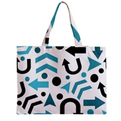 Cyan direction pattern Medium Zipper Tote Bag