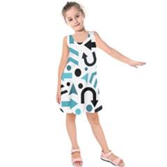 Cyan direction pattern Kids  Sleeveless Dress