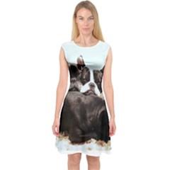French Bulldog Pile Of Puppies Capsleeve Midi Dress