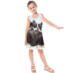 French Bulldog Pile Of Puppies Kids  Sleeveless Dress
