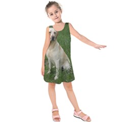 Yellow Labrador Full Kids  Sleeveless Dress