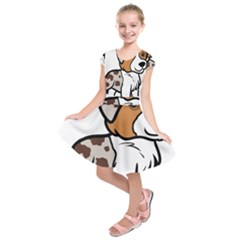 Aussie Red Merle Cartoon Kids  Short Sleeve Dress