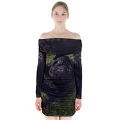 Black Pug Full Long Sleeve Off Shoulder Dress
